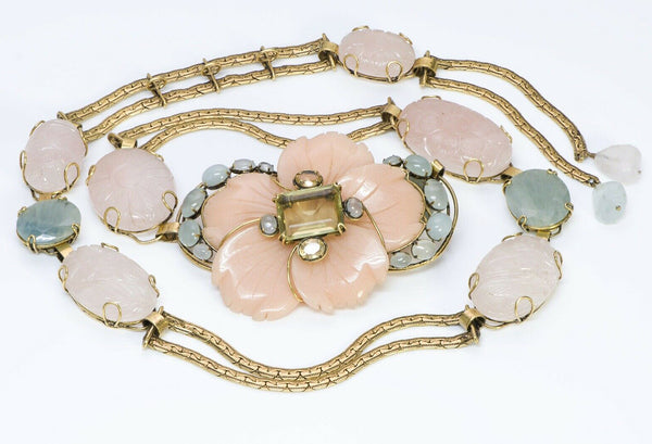 Iradj Moini Agate Flower Carved Chain Belt