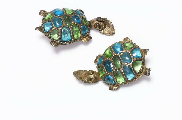 Isabel Canovas AGLAE 1988 Glass Turtle Earrings