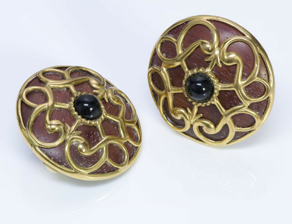 Isabel Canovas Vintage Wood Round Earrings