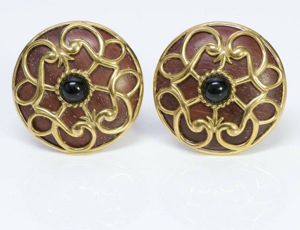 Isabel Canovas Wood Round Earrings