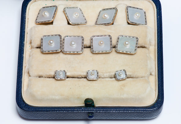 J. E. Caldwell Deco 9 Piece Pearl Cufflink & Dress Set