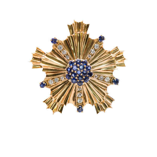 Sapphire and Diamond Gold Brooch