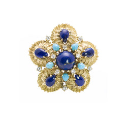 Gold Lapis Turquoise and Diamond Brooch