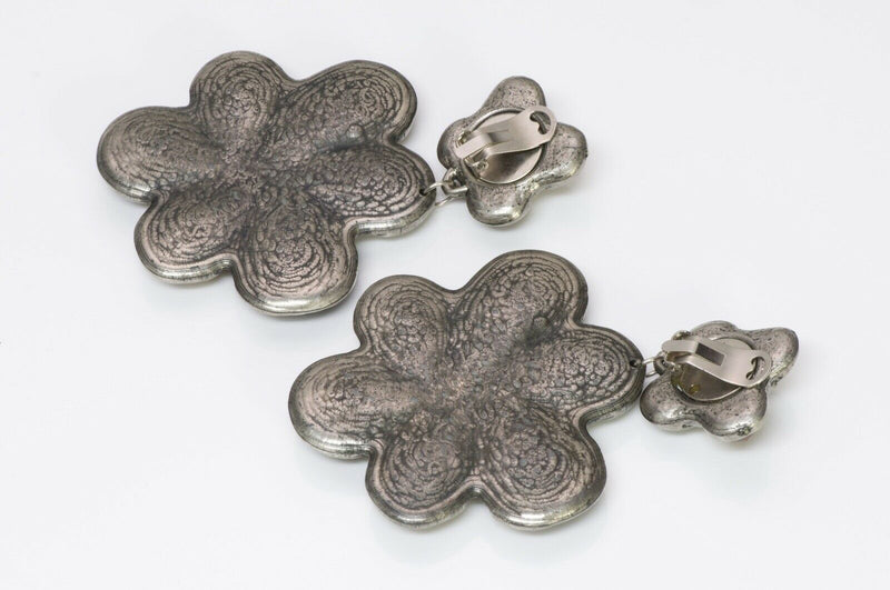 Jacky de G Paris 1980's Flower Earrings