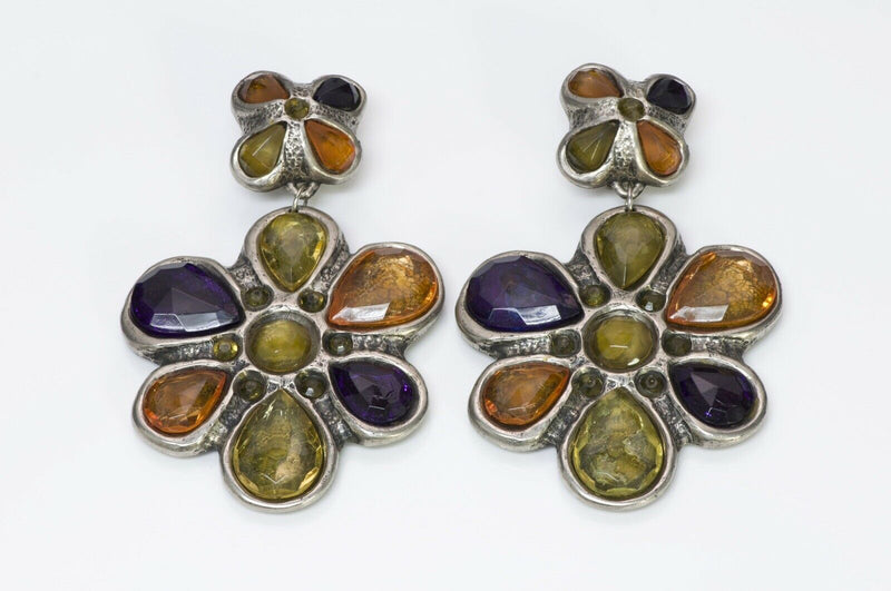 Jacky de G Paris 1980's Multi Color Crystal Flower Earrings