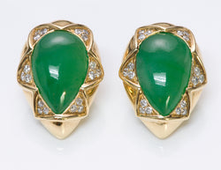 Jade Diamond 18K Gold Earrings
