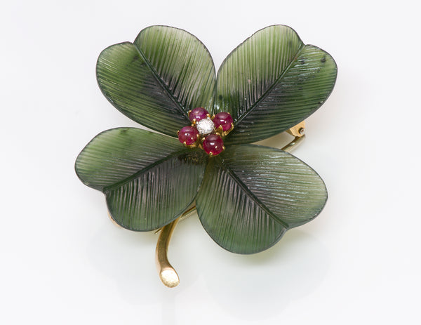 Nephrite Jade Ruby Diamond Gold Brooch Pin