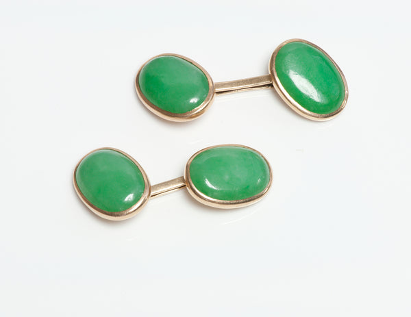 Antique Gold GIA Natural Untreated Jadeite Jade Cufflinks