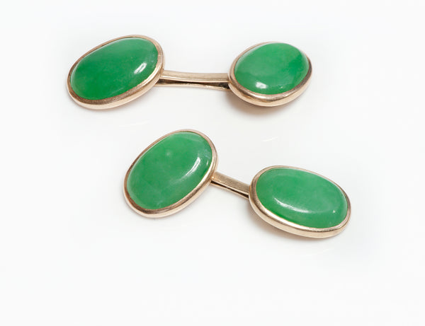 Antique Gold GIA Natural & Untreated Jadeite Jade Cufflinks