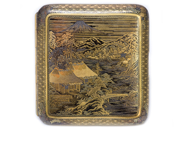 Antique Japanese Damascene Iron Gold Cigarette Case