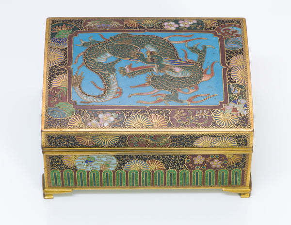 Antique Japanese Meiji Cloisonne Dragon Box Dragon