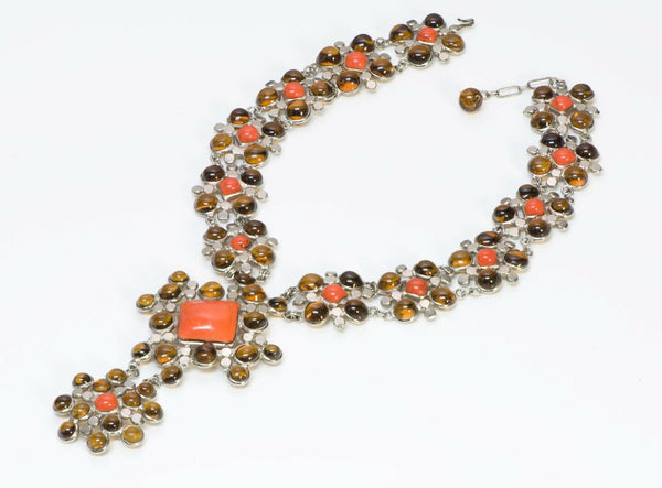 Jean Patou Christian Lacroix Gripoix 1980's Orange Glass Necklace Earrings