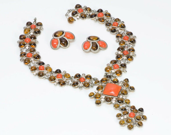 Jean Patou Christian Lacroix Gripoix Glass Necklace Earrings
