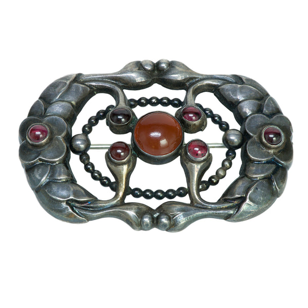 Georg Jensen Silver Carnelian and Garnet Brooch