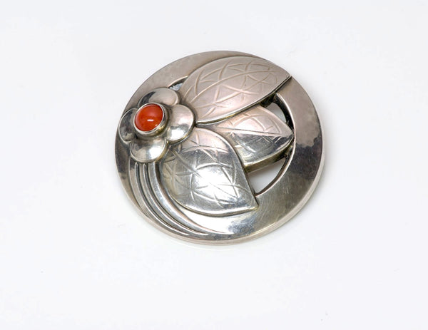 Georg Jensen Coral Sterling Silver Brooch Pin 127