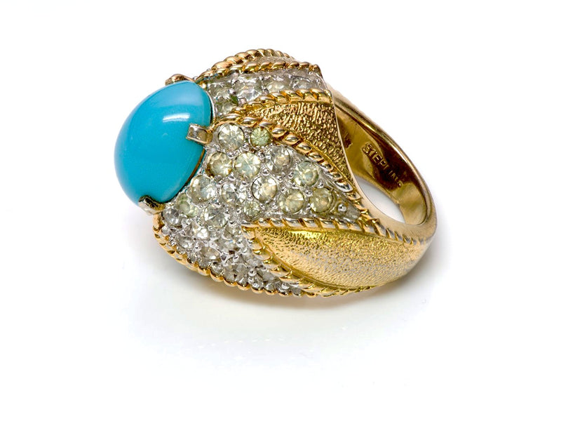 Vintage Jomaz Sterling Silver Faux Turquoise Cocktail Ring 1