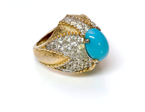 Jomaz 1950's Sterling Silver Faux Turquoise Cocktail Ring