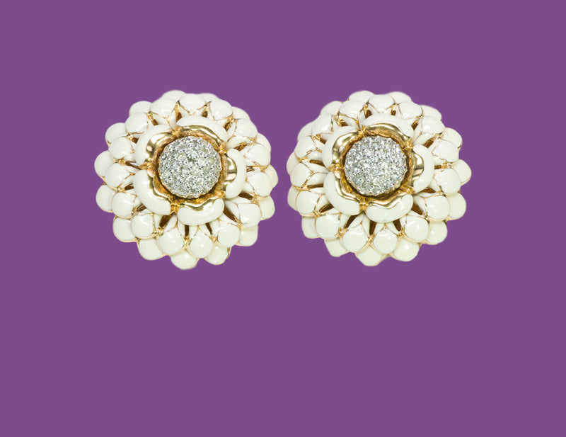 Judith Leiber Enamel Flower Earrings