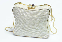 Judith Leiber Pearls Crystal Women's Minaudière Clutch Bag