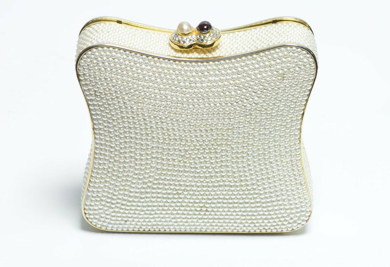 Judith Leiber White Pearls Crystal Women's Minaudière Clutch Bag