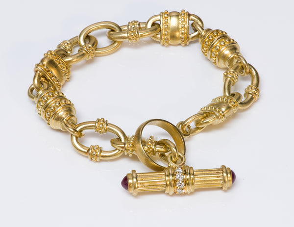 Judith Ripka 18K Gold Ruby Diamond Bracelet