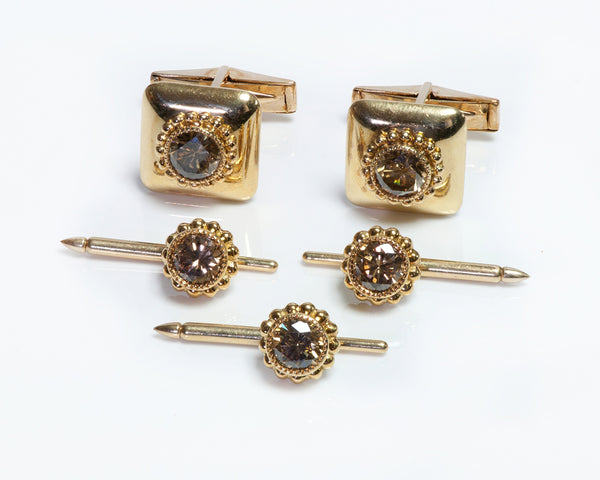 Julius Cohen Diamond Cufflink Stud Set