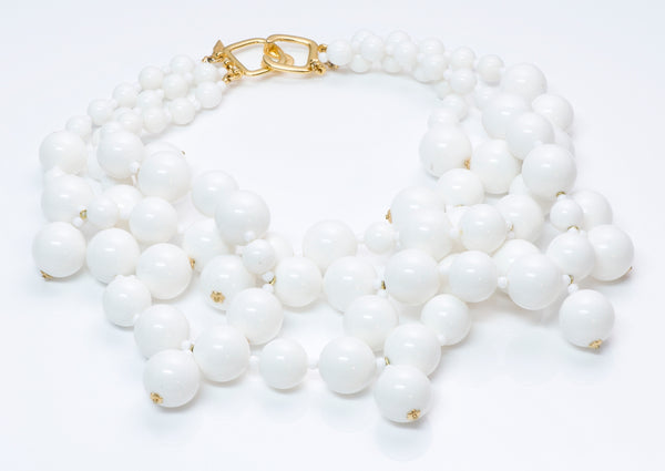 Kenneth Jay Lane White Bead Necklace