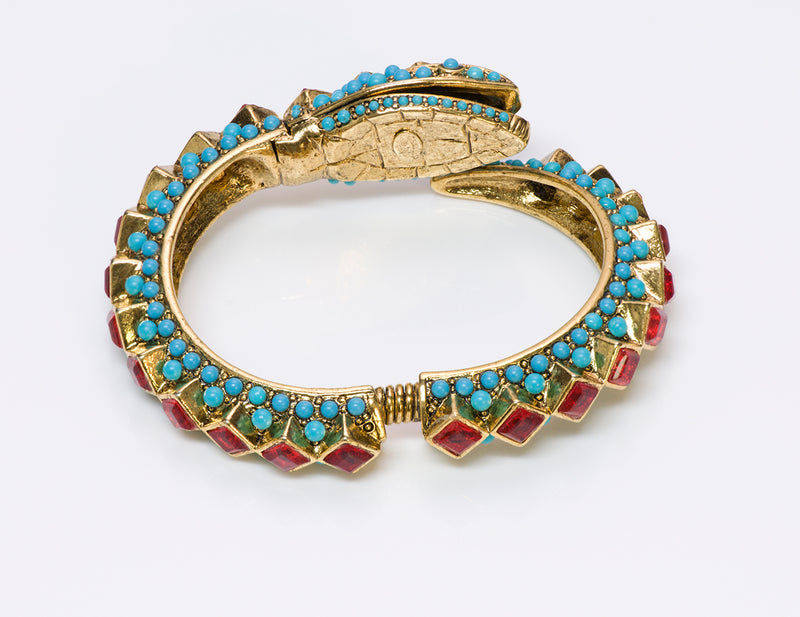 Kenneth Jay Lane KJL Turquoise Snake Bangle Bracelet 8