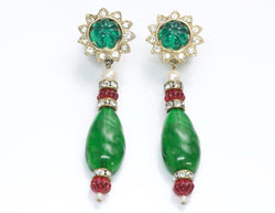 Vintage Kenneth Jay Lane KJL Faux Emerald Crystal Earrings