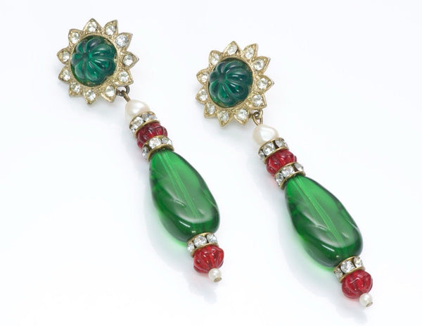 Kenneth Jay Lane KJL Faux Emerald Crystal Earrings