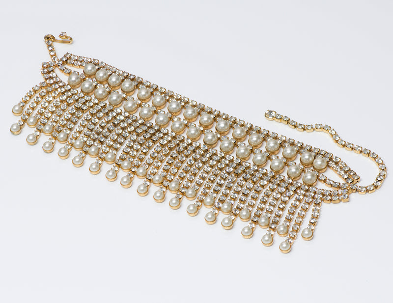 Kenneth Jay Lane KJL Gold Tone Crystal Pearl Choker Necklace