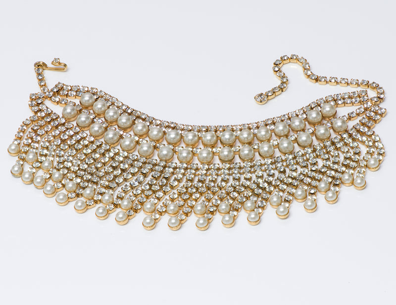 Kenneth Jay Lane KJL 1960's Gold Tone Crystal Pearl Choker Necklace