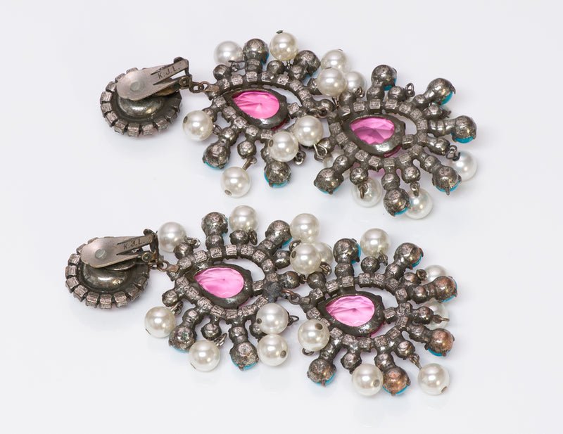 Kenneth Jay Lane KJL Crystal Mughal Vintage Earrings
