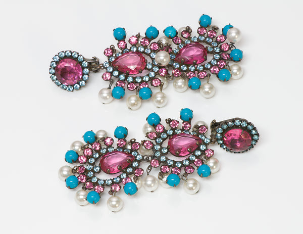 Kenneth Jay Lane KJL 1960's Pink Crystal Pearl Turquoise Mughal Earrings