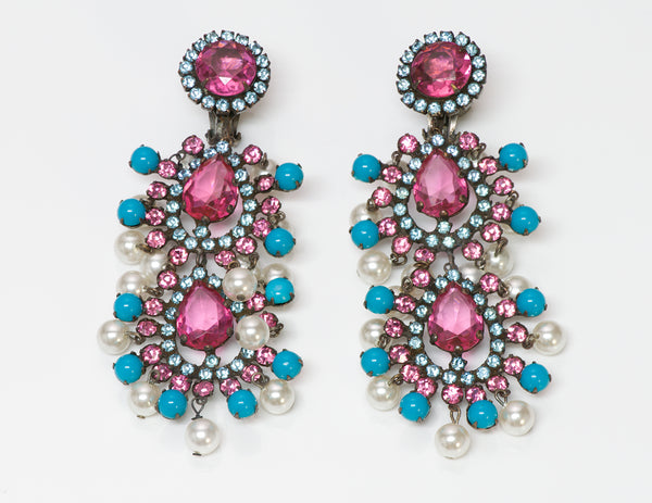 Kenneth Jay Lane KJL Crystal Pearl Turquoise Mughal Style Earrings