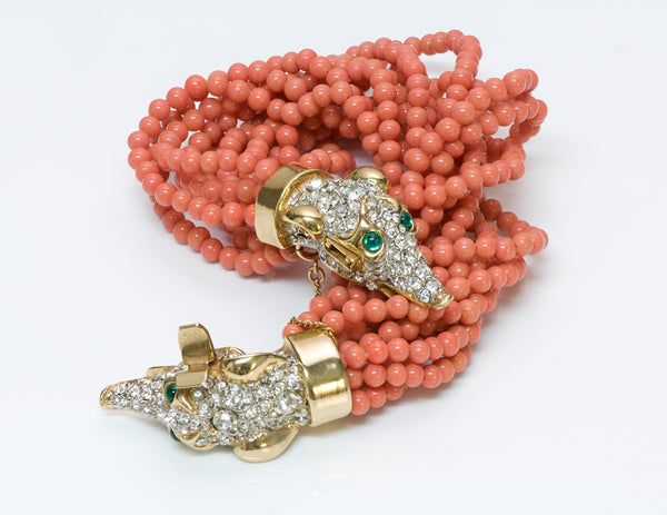 Kenneth Jay Lane KJL 1960's Faux Coral Beads Greyhound Bracelet