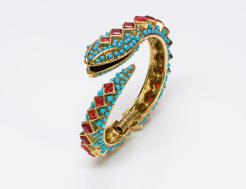 Kenneth Jay Lane KJL Turquoise Snake Bangle Bracelet 2