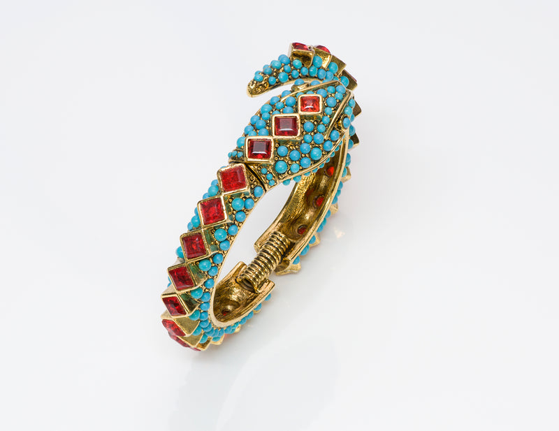 Kenneth Jay Lane KJL Turquoise Snake Bangle Bracelet 3