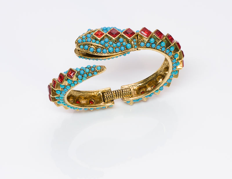 Kenneth Jay Lane KJL Turquoise Snake Bangle Bracelet 5