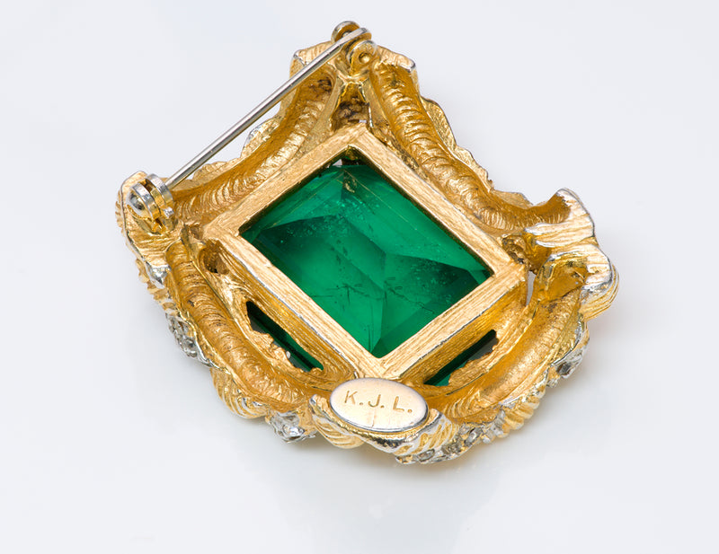Vintage Kenneth Jay Lane KJL 1960's Green Crystal Brooch