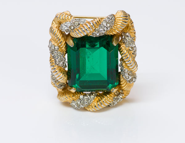 Kenneth Jay Lane KJL Green Crystal Brooch
