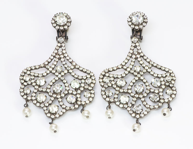 Kenneth Jay Lane KJL 1990's Crystal Pearl Chandelier Earrings