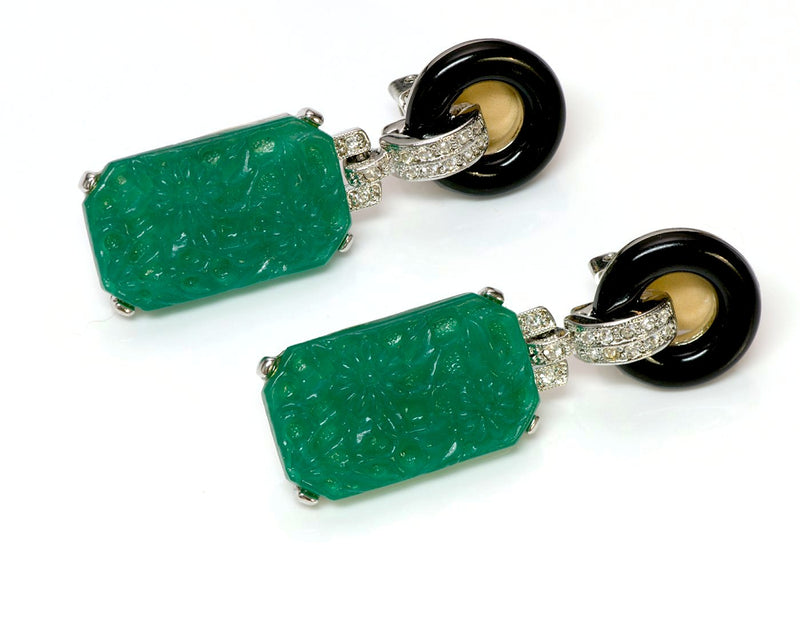 Kenneth Jay Lane KJL Faux Jade Art Deco Drop Earrings
