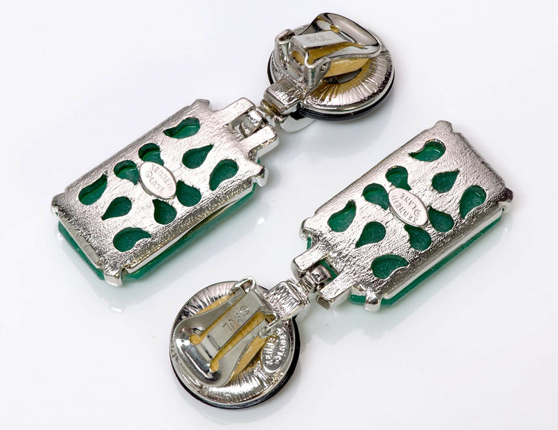 Kenneth Jay Lane KJL Jade Art Deco Style Earrings