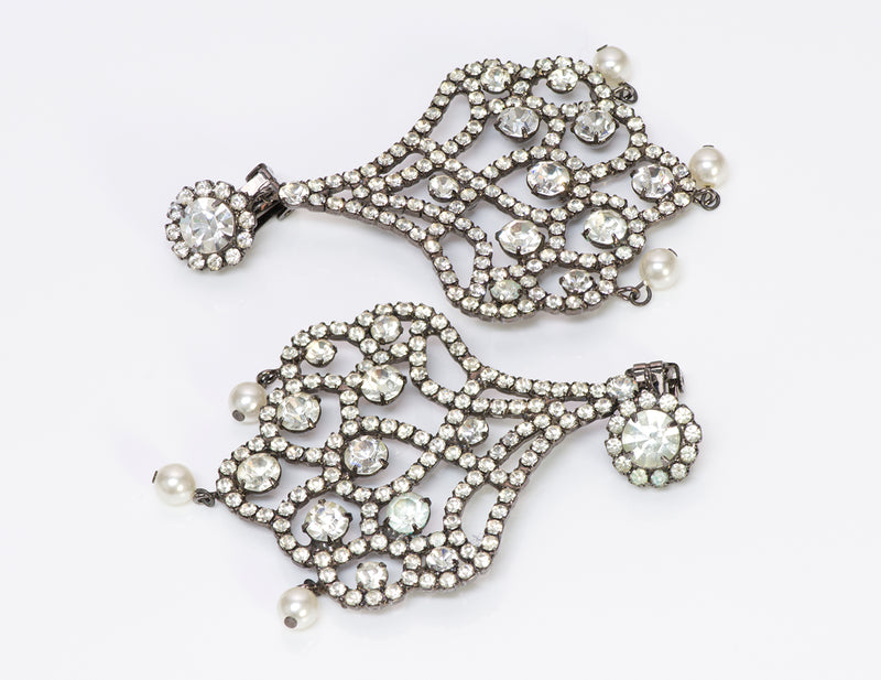 Kenneth Jay Lane KJL 1990 Crystal Pearl Chandelier Earrings