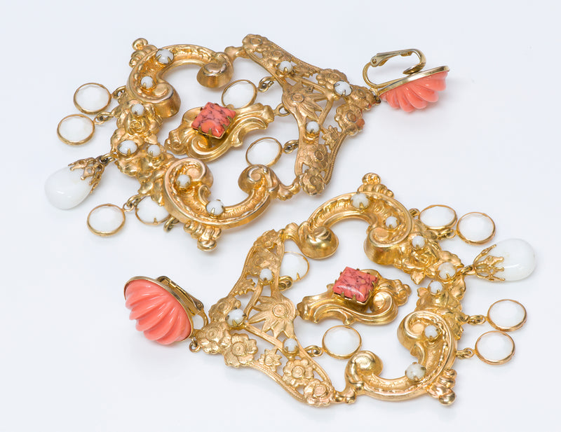 Kenneth Jay Lane KJL Faux Coral Chandelier Earrings