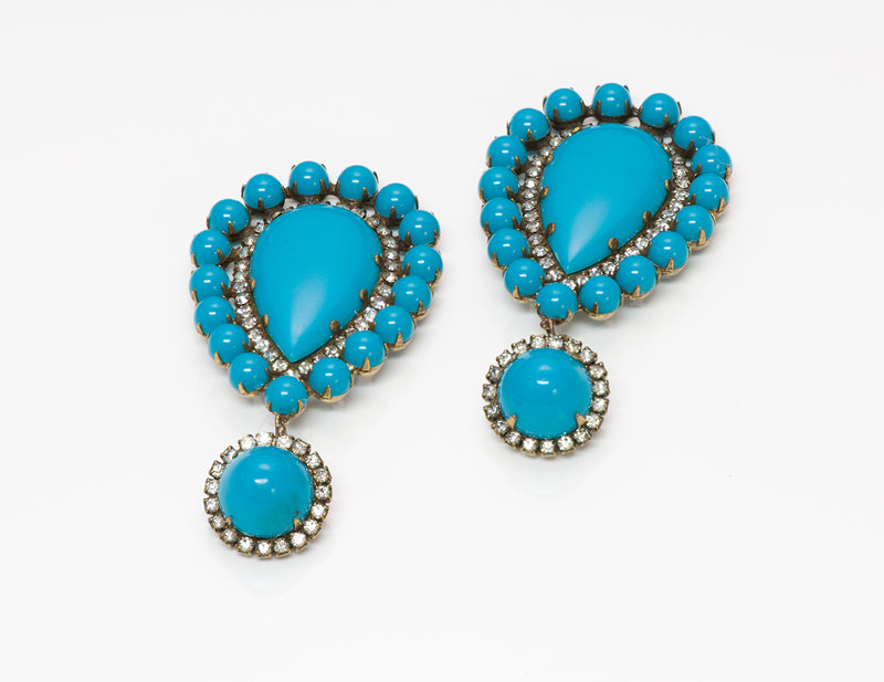 Kenneth Jay Lane KJL 1960's Turquoise Crystal Earrings 3