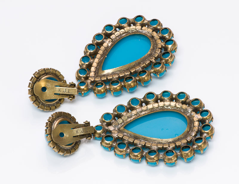 Kenneth Jay Lane KJL 1960's Turquoise Crystal Earrings 4