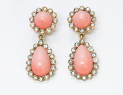 Kenneth Jay Lane KJL Faux Coral Crystal Drop Earrings