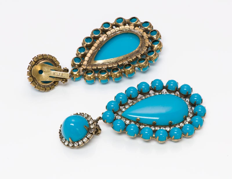 Kenneth Jay Lane KJL 1960's Turquoise Crystal Earrings 2